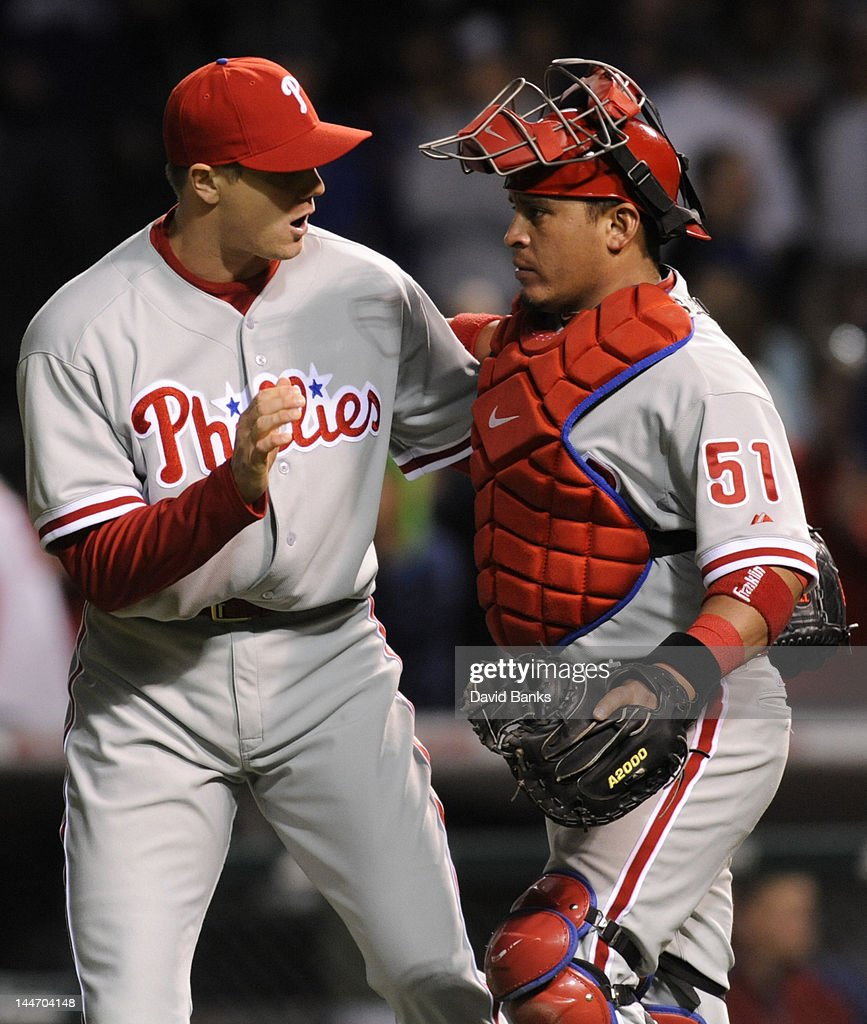 <a gi-track='captionPersonalityLinkClicked' href=/galleries/search?phrase=Jonathan+Papelbon&family=editorial&specificpeople=453535 ng-click='$event.stopPropagation()'>Jonathan Papelbon</a> #58 of the Philadelphia Phillies and Carlos Ruiz #51 celebrate a Phillies victory over the Chicago Cubs on May 17, 2012 at Wrigley Field in Chicago, Illinois. The Philadelphia Phillies defeated the Chicago Cubs 8-7.
