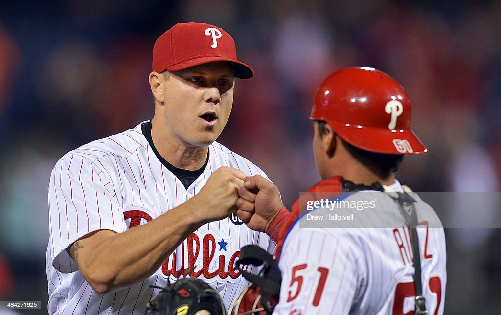 <a gi-track='captionPersonalityLinkClicked' href=/galleries/search?phrase=Jonathan+Papelbon&family=editorial&specificpeople=453535 ng-click='$event.stopPropagation()'>Jonathan Papelbon</a> #58 of the Philadelphia Phillies and Carlos Ruiz #51 of the Philadelphia Phillies celebrate a 6-3 win over the Miami Marlins at Citizens Bank Park on April 11, 2014 in Philadelphia, Pennsylvania.