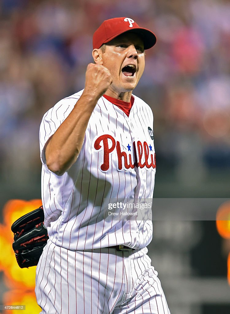Jonathan Papelbon of the Philadelphia Phillies celebrates after a 31 win over the New York Mets at Citizens Bank Park on May 8 2015 in Philadelphia...