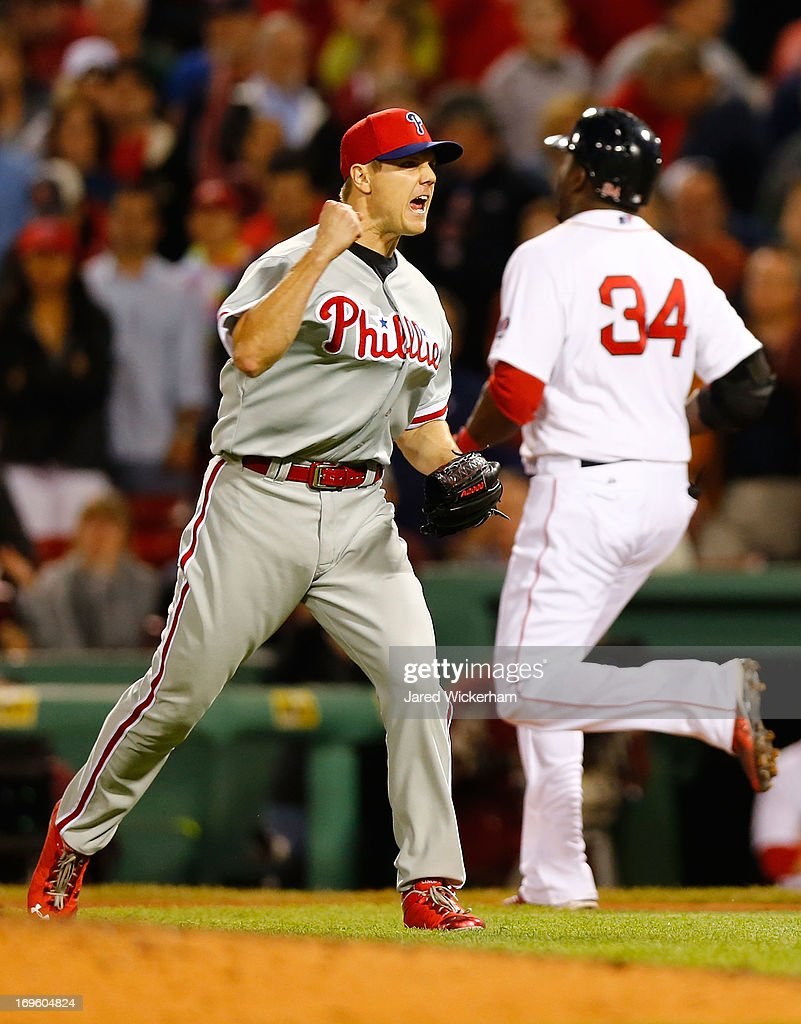 <a gi-track='captionPersonalityLinkClicked' href=/galleries/search?phrase=Jonathan+Papelbon&family=editorial&specificpeople=453535 ng-click='$event.stopPropagation()'>Jonathan Papelbon</a> #58 of the Philadelphia Phillies celebrates after completing the save in the ninth inning with the final out against <a gi-track='captionPersonalityLinkClicked' href=/galleries/search?phrase=David+Ortiz&family=editorial&specificpeople=175825 ng-click='$event.stopPropagation()'>David Ortiz</a> #34 of the Boston Red Sox during the interleague game on May 28, 2013 at Fenway Park in Boston, Massachusetts.