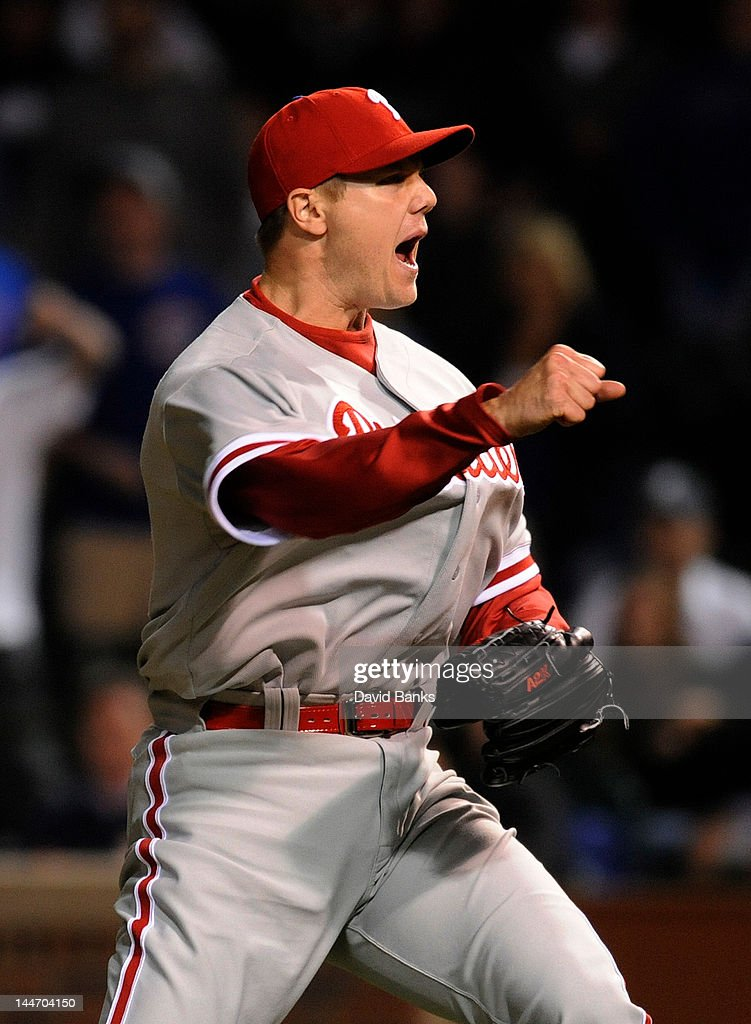 <a gi-track='captionPersonalityLinkClicked' href=/galleries/search?phrase=Jonathan+Papelbon&family=editorial&specificpeople=453535 ng-click='$event.stopPropagation()'>Jonathan Papelbon</a> #58 of the Philadelphia Phillies celebrates his save and a Phillies victory over the Chicago Cubs on May 17, 2012 at Wrigley Field in Chicago, Illinois. The Philadelphia Phillies defeated the Chicago Cubs 8-7.
