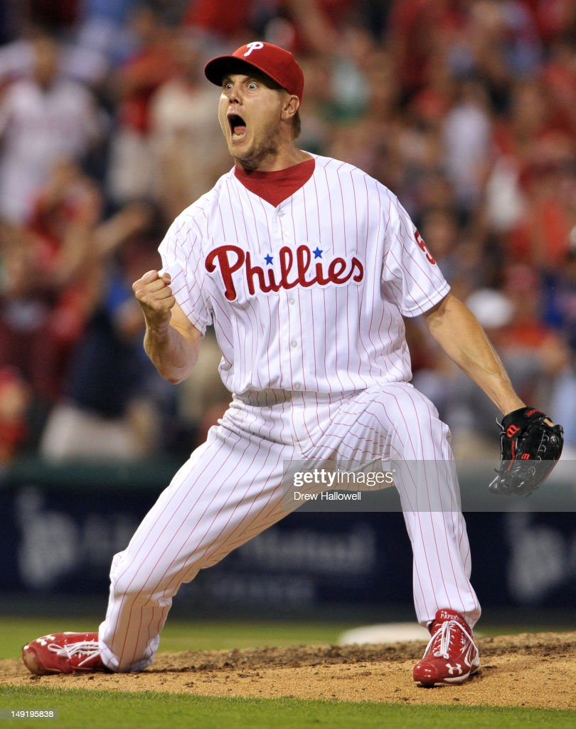 Jonathan Papelbon of the Philadelphia Phillies celebrates his save and the 76 win over the Milwaukee Brewers at Citizens Bank Park on July 24 2012 in...