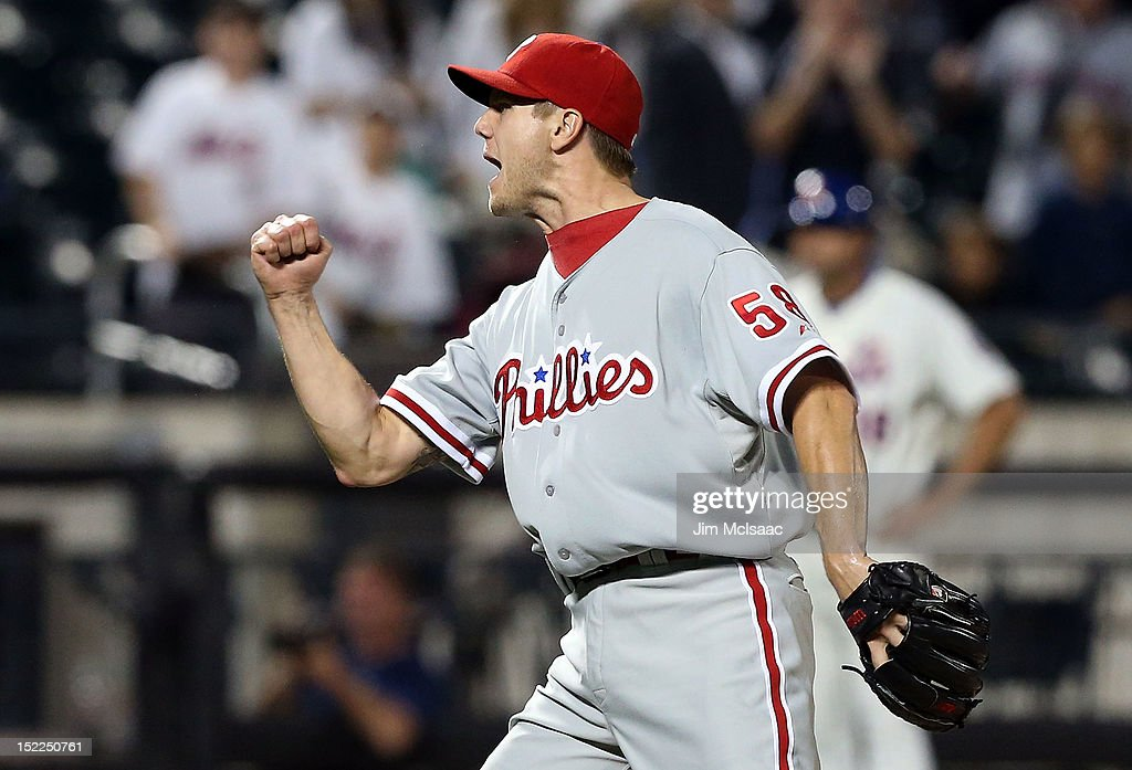 <a gi-track='captionPersonalityLinkClicked' href=/galleries/search?phrase=Jonathan+Papelbon&family=editorial&specificpeople=453535 ng-click='$event.stopPropagation()'>Jonathan Papelbon</a> #58 of the Philadelphia Phillies celebrates the final out of the game against the New York Mets at Citi Field on September 17, 2012 in the Flushing neighborhood of the Queens borough of New York City.