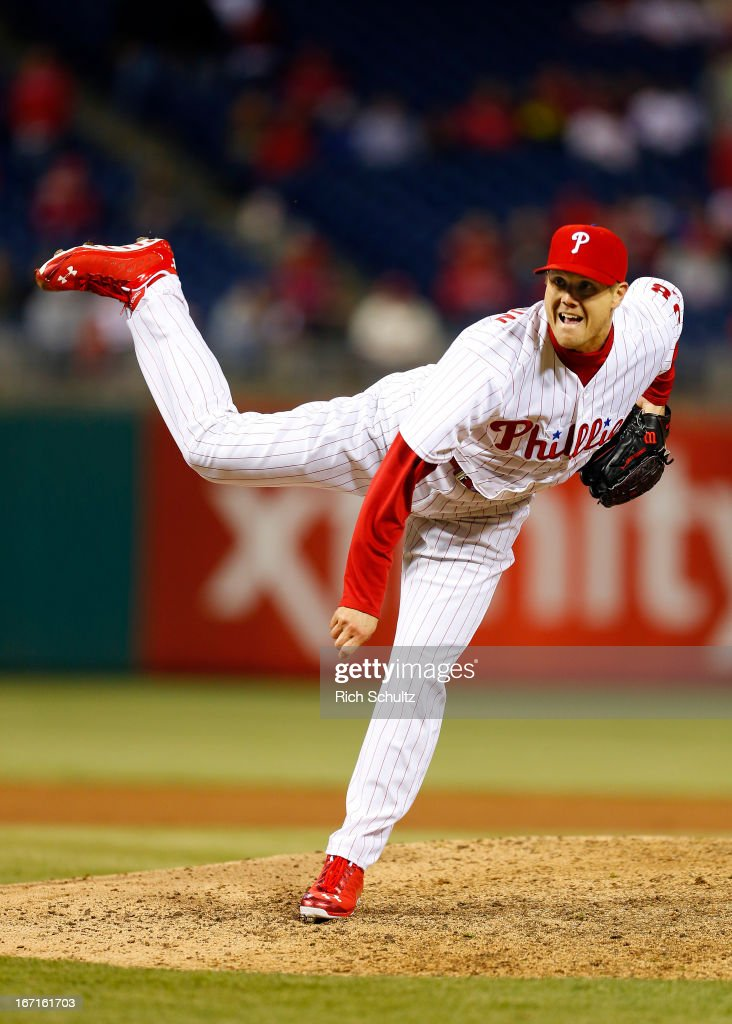<a gi-track='captionPersonalityLinkClicked' href=/galleries/search?phrase=Jonathan+Papelbon&family=editorial&specificpeople=453535 ng-click='$event.stopPropagation()'>Jonathan Papelbon</a> #58 of the Philadelphia Phillies closes out the ninth inning against the St. Louis Cardinals in a MLB baseball game on April 21, 2013 at Citizens Bank Park in Philadelphia, Pennsylvania. The Phillies defeated the Cardinals 7-3.