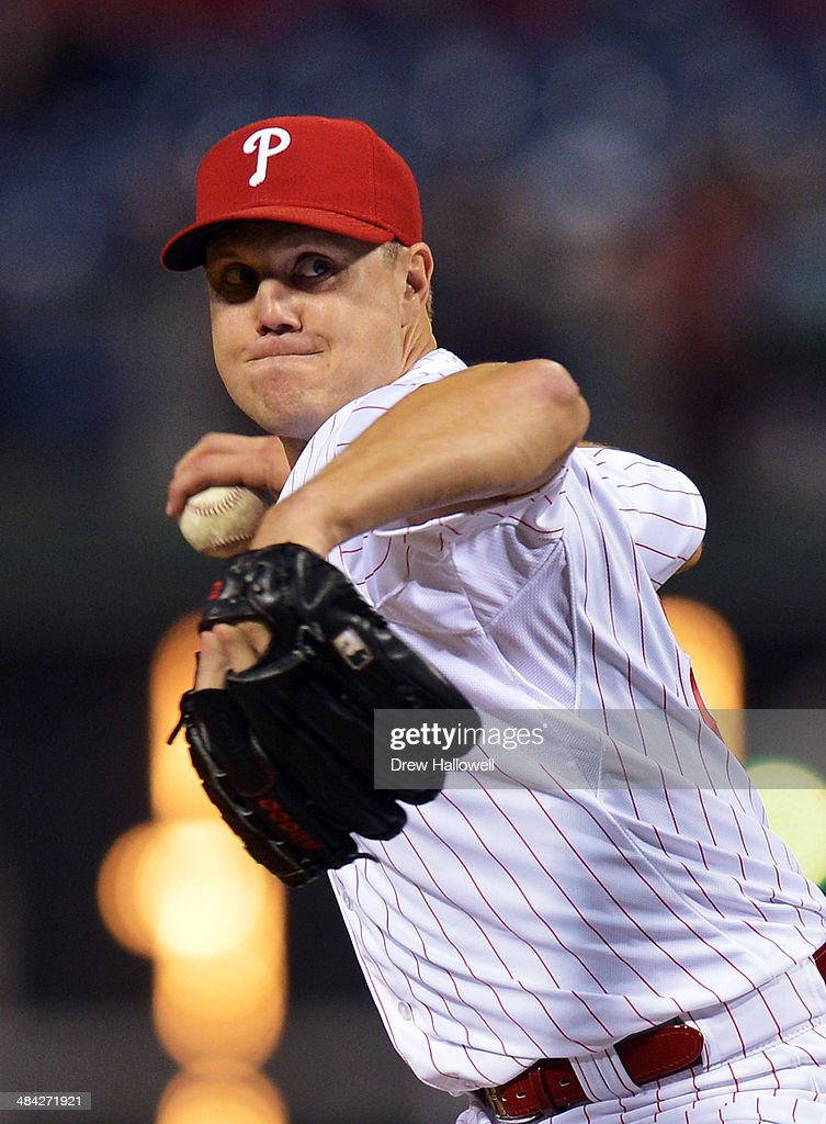 <a gi-track='captionPersonalityLinkClicked' href=/galleries/search?phrase=Jonathan+Papelbon&family=editorial&specificpeople=453535 ng-click='$event.stopPropagation()'>Jonathan Papelbon</a> #58 of the Philadelphia Phillies delivers a pitch in the ninth inning against the Miami Marlins at Citizens Bank Park on April 11, 2014 in Philadelphia, Pennsylvania. The Phillies won 6-3.