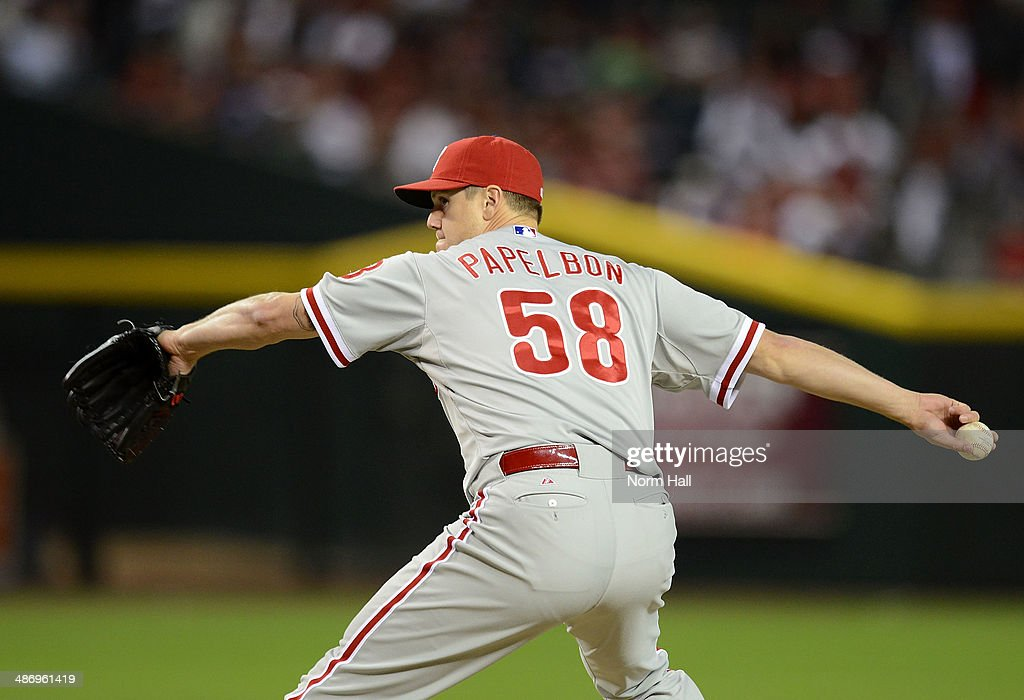 Jonathan Papelbon #58 of the Philadelphia Phillies delivers a pitch in the ninth inning against the Arizona Diamondbacks at Chase Field on April 26, 2014 in Phoenix, Arizona. Phillies won 6-5.