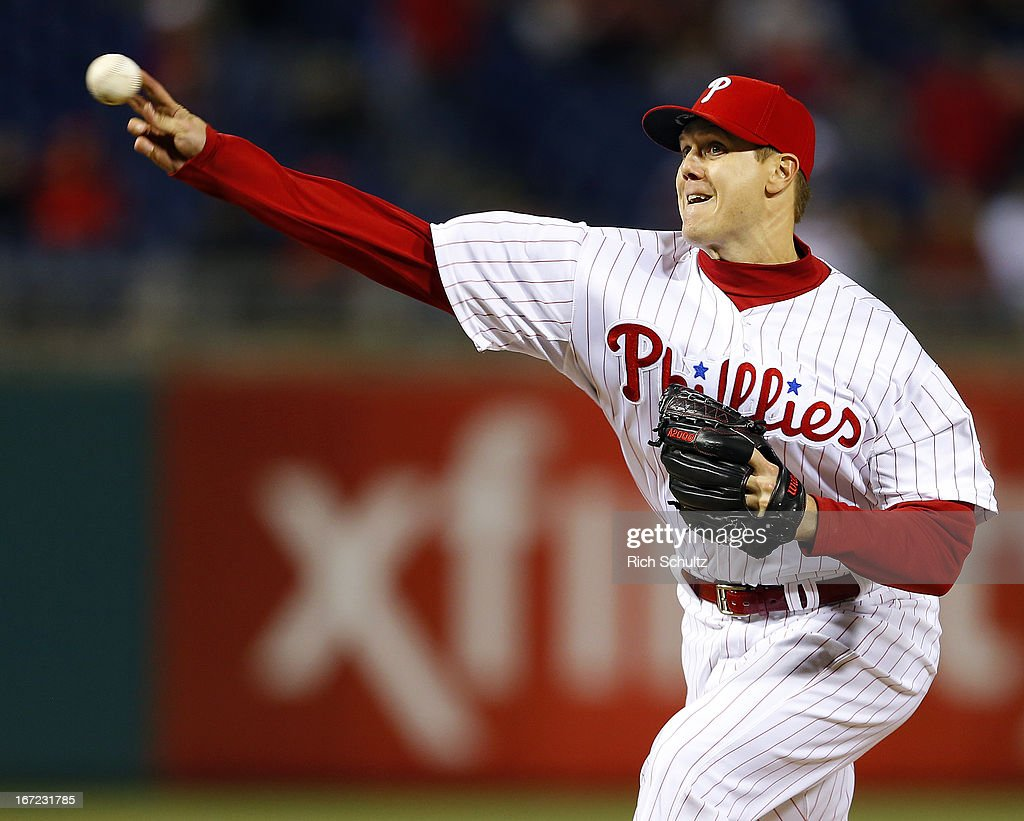 <a gi-track='captionPersonalityLinkClicked' href=/galleries/search?phrase=Jonathan+Papelbon&family=editorial&specificpeople=453535 ng-click='$event.stopPropagation()'>Jonathan Papelbon</a> #58 of the Philadelphia Phillies delivers a pitch against the Pittsburgh Pirates in the ninth inning as the Phillies defeated the Pirates 3-2 with Papelbon getting the save on April 22, 2013 at Citizens Bank Park in Philadelphia, Pennsylvania.