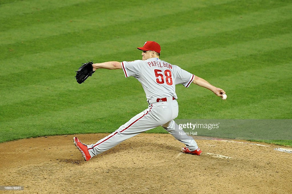 <a gi-track='captionPersonalityLinkClicked' href=/galleries/search?phrase=Jonathan+Papelbon&family=editorial&specificpeople=453535 ng-click='$event.stopPropagation()'>Jonathan Papelbon</a> #58 of the Philadelphia Phillies delivers a pitch against the Arizona Diamondbacks at Chase Field on May 11, 2013 in Phoenix, Arizona. Phillies won 3-1. Phillies won 3-1.