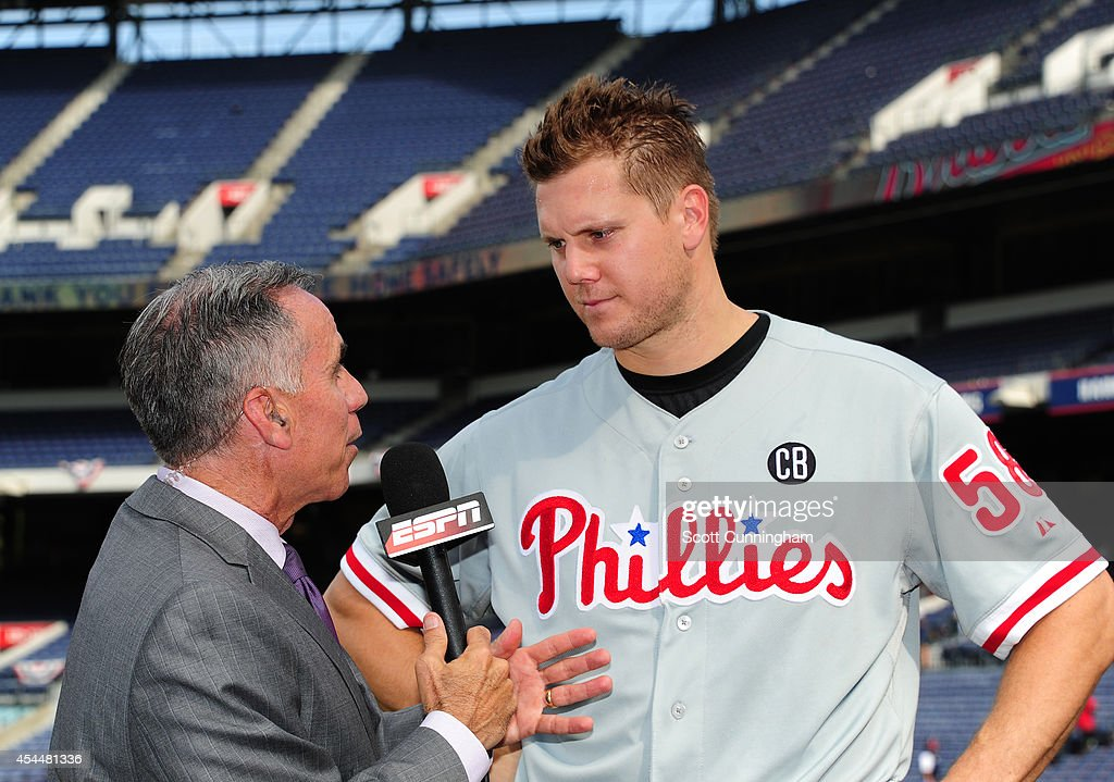 <a gi-track='captionPersonalityLinkClicked' href=/galleries/search?phrase=Jonathan+Papelbon&family=editorial&specificpeople=453535 ng-click='$event.stopPropagation()'>Jonathan Papelbon</a> #58 of the Philadelphia Phillies is interviewed by Tim Kurkjian after being part of a four pitcher no-hitter against the Atlanta Braves at Turner Field on September 1, 2014 in Atlanta, Georgia.