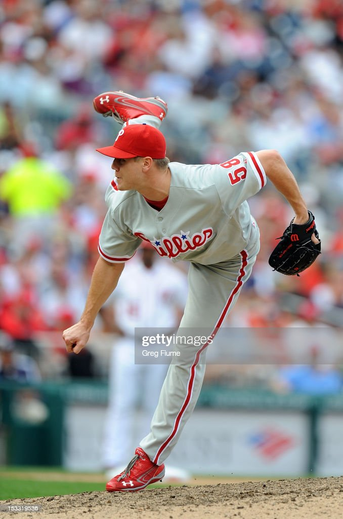 <a gi-track='captionPersonalityLinkClicked' href=/galleries/search?phrase=Jonathan+Papelbon&family=editorial&specificpeople=453535 ng-click='$event.stopPropagation()'>Jonathan Papelbon</a> #58 of the Philadelphia Phillies pitches against the Washington Nationals at Nationals Park on October 3, 2012 in Washington, DC.