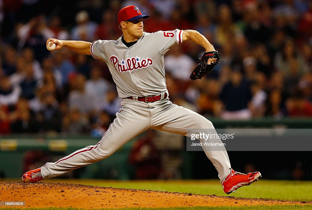 <a gi-track='captionPersonalityLinkClicked' href=/galleries/search?phrase=Jonathan+Papelbon&family=editorial&specificpeople=453535 ng-click='$event.stopPropagation()'>Jonathan Papelbon</a> #58 of the Philadelphia Phillies pitches against the Boston Red Sox during the interleague game on May 28, 2013 at Fenway Park in Boston, Massachusetts.