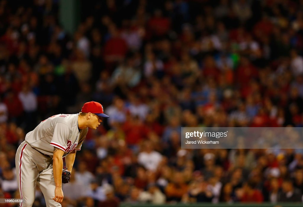 <a gi-track='captionPersonalityLinkClicked' href=/galleries/search?phrase=Jonathan+Papelbon&family=editorial&specificpeople=453535 ng-click='$event.stopPropagation()'>Jonathan Papelbon</a> #58 of the Philadelphia Phillies pitches against the Boston Red Sox, the first time he has been back at Fenway since playing for the Red Sox, during the interleague game on May 28, 2013 at Fenway Park in Boston, Massachusetts.