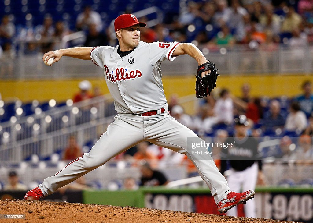 Jonathan Papelbon of the Philadelphia Phillies pitches during the ninth inning of the game against the Miami Marlins at Marlins Park on September 24...