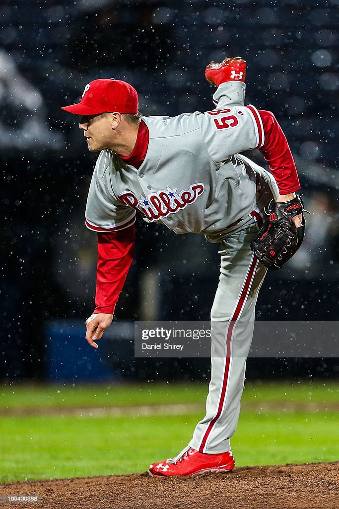 <a gi-track='captionPersonalityLinkClicked' href=/galleries/search?phrase=Jonathan+Papelbon&family=editorial&specificpeople=453535 ng-click='$event.stopPropagation()'>Jonathan Papelbon</a> #58 of the Philadelphia Phillies pitches in the eighth inning of the game against the Atlanta Braves at Turner Field on April 3, 2013 in Atlanta, Georgia.