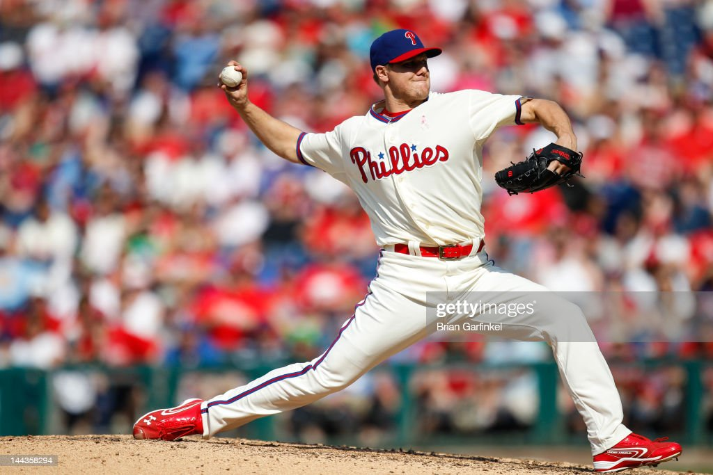 <a gi-track='captionPersonalityLinkClicked' href=/galleries/search?phrase=Jonathan+Papelbon&family=editorial&specificpeople=453535 ng-click='$event.stopPropagation()'>Jonathan Papelbon</a> #58 of the Philadelphia Phillies pitches in the ninth inning of the game against the San Diego Padres at Citizens Bank Park on May 13, 2012 in Philadelphia, Pennsylvania. The Phillies won 3-2.