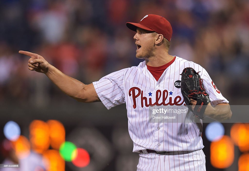 Jonathan Papelbon of the Philadelphia Phillies points to the infield after the final out of the game against the Tampa Bay Rays at Citizens Bank Park...