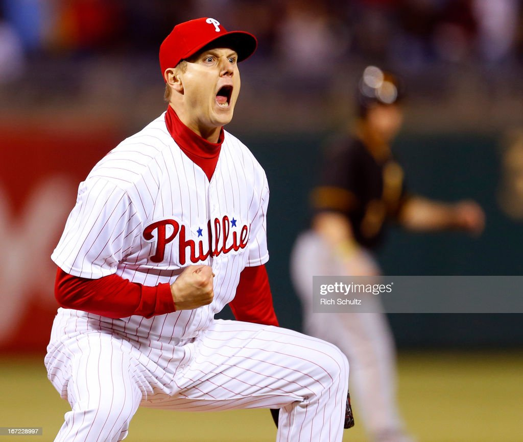 Jonathan Papelbon of the Philadelphia Phillies reacts after getting Pedro Alvarez of the Pittsburgh Pirates to strike out to end the game as the...