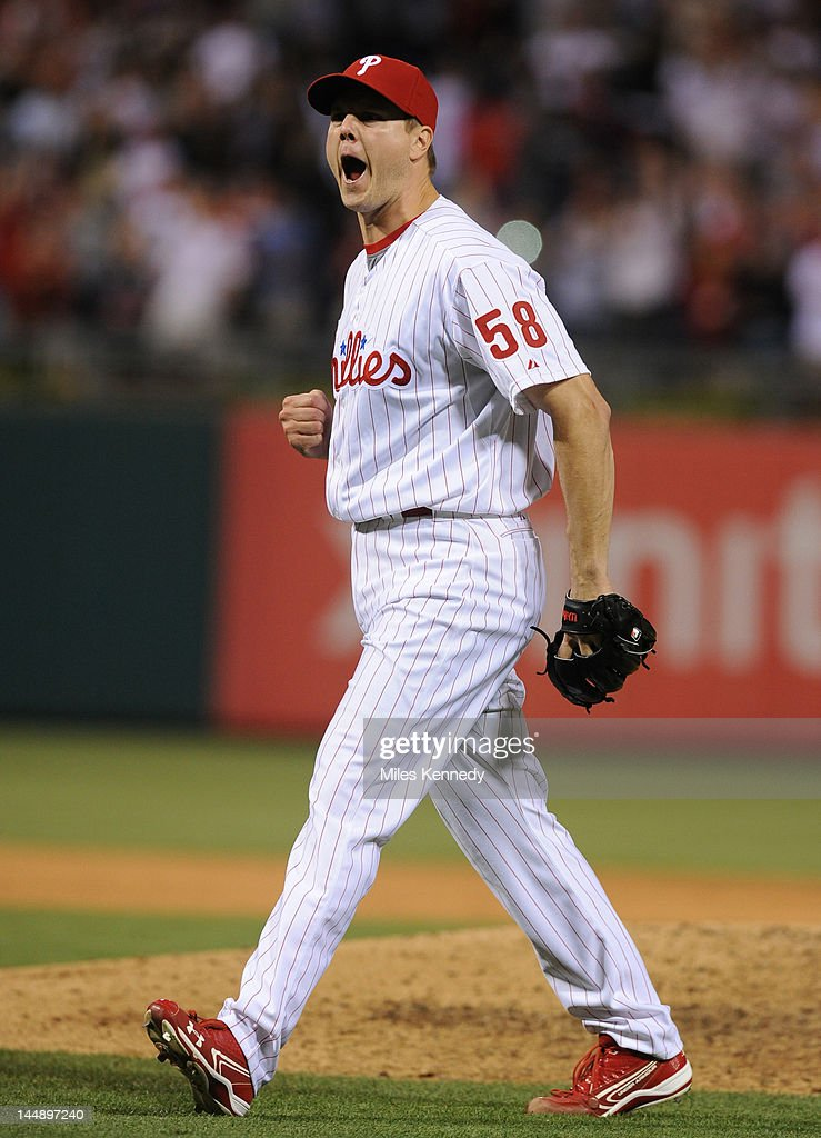 <a gi-track='captionPersonalityLinkClicked' href=/galleries/search?phrase=Jonathan+Papelbon&family=editorial&specificpeople=453535 ng-click='$event.stopPropagation()'>Jonathan Papelbon</a> #58 of the Philadelphia Phillies reacts after the final out in the ninth inning against the Boston Red Sox on May 18, 2012 at Citizens Bank Park in Philadelphia, Pennsylvania. The Phillies won 6-4.