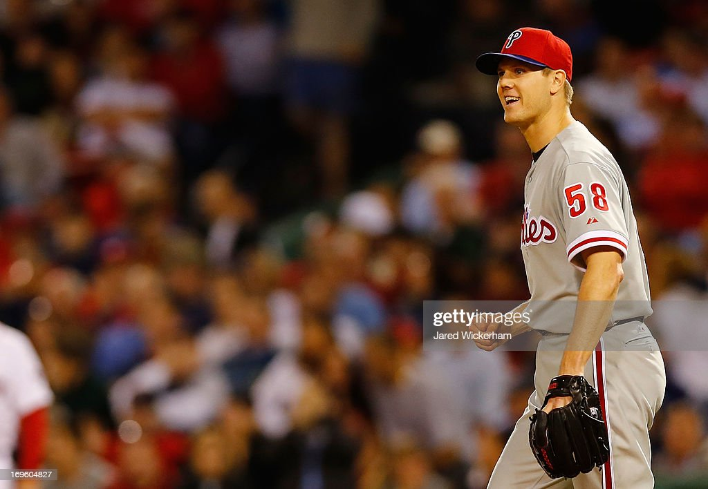 <a gi-track='captionPersonalityLinkClicked' href=/galleries/search?phrase=Jonathan+Papelbon&family=editorial&specificpeople=453535 ng-click='$event.stopPropagation()'>Jonathan Papelbon</a> #58 of the Philadelphia Phillies smiles and celebrates following an out in the ninth inning against the Boston Red Sox during the interleague game on May 28, 2013 at Fenway Park in Boston, Massachusetts.