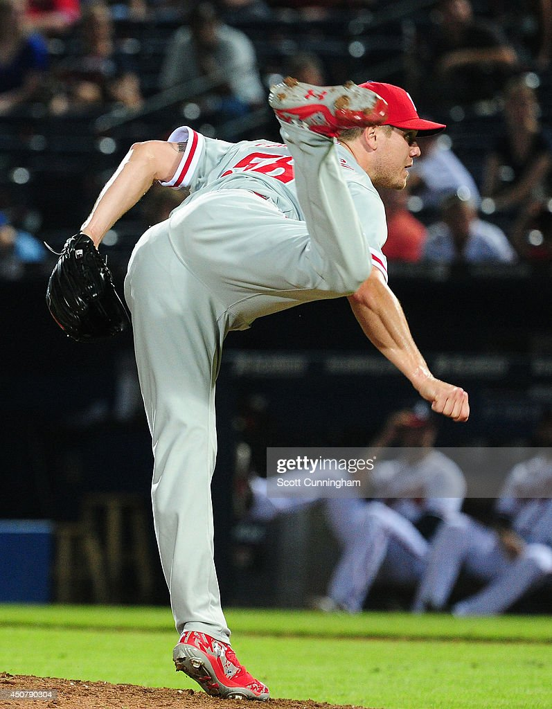 Jonathan Papelbon #58 of the Philadelphia Phillies throws a pitch against the Atlanta Braves in the ninth inning at Turner Field on June 17, 2014 in Atlanta, Georgia.