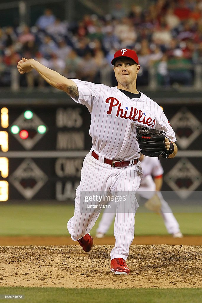 <a gi-track='captionPersonalityLinkClicked' href=/galleries/search?phrase=Jonathan+Papelbon&family=editorial&specificpeople=453535 ng-click='$event.stopPropagation()'>Jonathan Papelbon</a> #58 of the Philadelphia Phillies throws a pitch during a game against the Cincinnati Reds at Citizens Bank Park on May 17, 2013 in Philadelphia, Pennsylvania. The Phillies won 5-3.