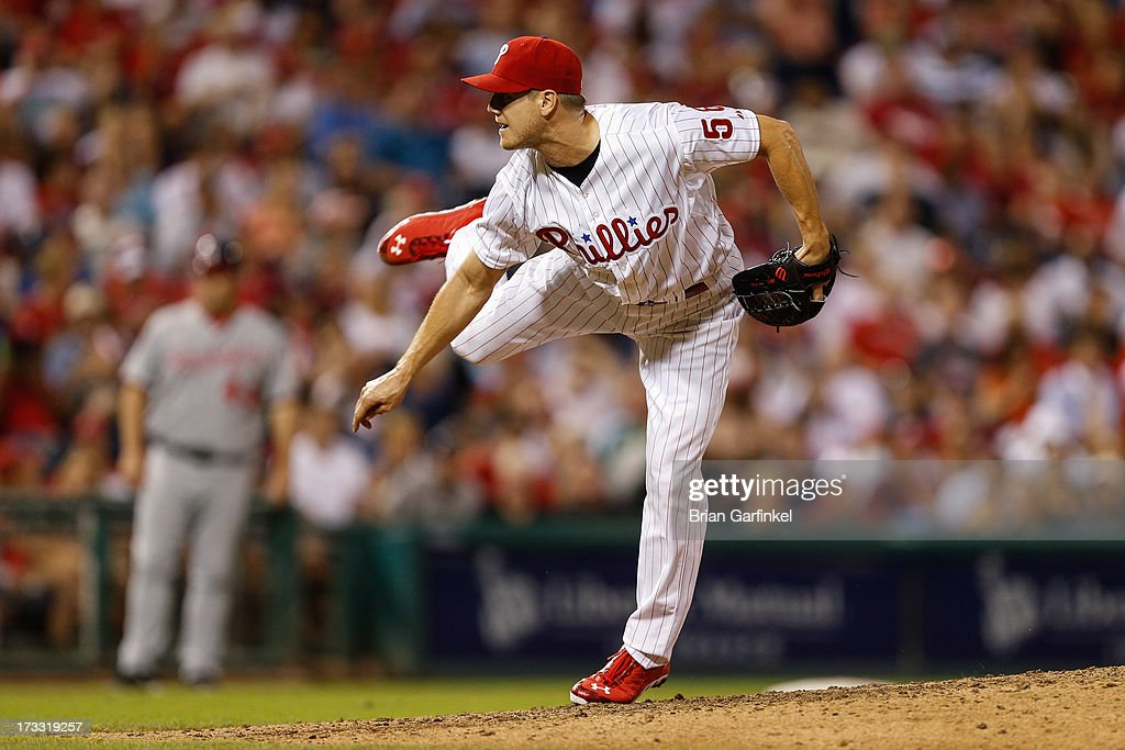 <a gi-track='captionPersonalityLinkClicked' href=/galleries/search?phrase=Jonathan+Papelbon&family=editorial&specificpeople=453535 ng-click='$event.stopPropagation()'>Jonathan Papelbon</a> #58 of the Philadelphia Phillies throws a pitch in the ninth inning of the game against the Washington Nationals at Citizens Bank Park on July 11, 2013 in Philadelphia, Pennsylvania. The Phillies won 3-1.