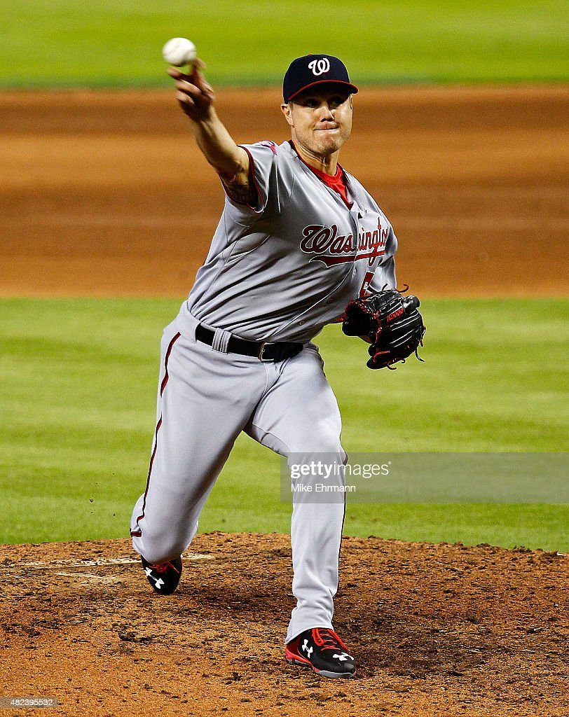 Jonathan Papelbon #58 of the Washington Nationals pitches during a game against the Miami Marlins at Marlins Park on July 30, 2015 in Miami, Florida.