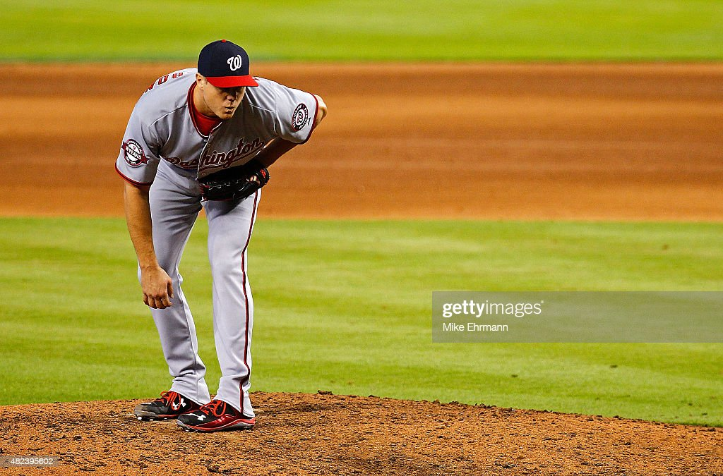 Jonathan Papelbon of the Washington Nationals pitches during a game against the Miami Marlins at Marlins Park on July 30 2015 in Miami Florida