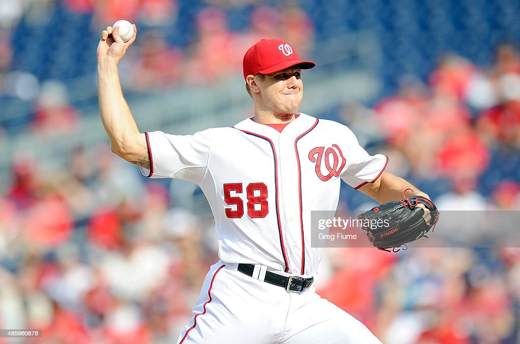 Jonathan Papelbon of the Washington Nationals pitches in the ninth inning against the Miami Marlins at Nationals Park on August 30 2015 in Washington...