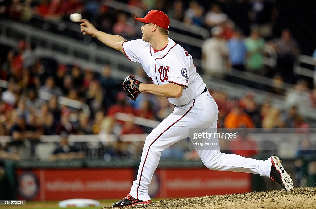 <a gi-track='captionPersonalityLinkClicked' href=/galleries/search?phrase=Jonathan+Papelbon&family=editorial&specificpeople=453535 ng-click='$event.stopPropagation()'>Jonathan Papelbon</a> #58 of the Washington Nationals pitches in the ninth inning against the St. Louis Cardinals at Nationals Park on May 26, 2016 in Washington, DC. Washington won the game 2-1.