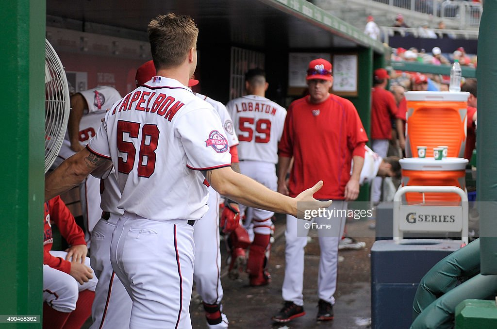 Jonathan Papelbon #58 reacts after an altercation with Bryce Harper #34 (not pictured) in the eighth inning against the Philadelphia Phillies at Nationals Park on September 27, 2015 in Washington, DC.