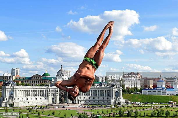 Jonathan Paredes Bernal of Mexico competes in the Men's High Diving 27m preliminary round on day ten of the 16th FINA World Championships at the...