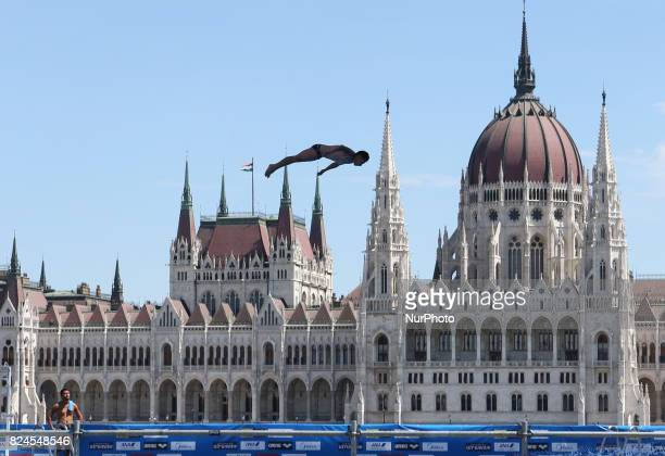 Jonathan Paredes competes in round 3 of the men's High Diving competition at the 2017 FINA World Championships in Budapest on July 30 2017