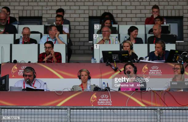 Jonathan Pearce Rachel Brown and Caroline Barker commentate for the radio in the press box during the UEFA Women's Euro 2017 match between Portugal...