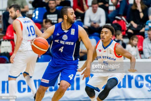 Jonathan Person and Brandon Taylor during the LNBM Men's National Basketball League game between CSM Steaua Bucharest and BC Mures TarguMures at Sala...