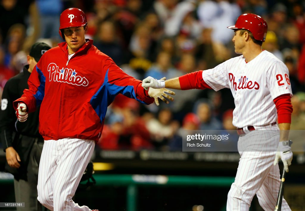 Jonathan Pettibone #44 of the Philadelphia Phillies is congratulated by teammate <a gi-track='captionPersonalityLinkClicked' href=/galleries/search?phrase=Chase+Utley&family=editorial&specificpeople=161391 ng-click='$event.stopPropagation()'>Chase Utley</a> #26 after scoring on a wild pitch in the third inning against of the Pittsburgh Pirates in a MLB baseball game on April 22, 2013 at Citizens Bank Park in Philadelphia, Pennsylvania. The Phillies defeated the Pirates 3-2.