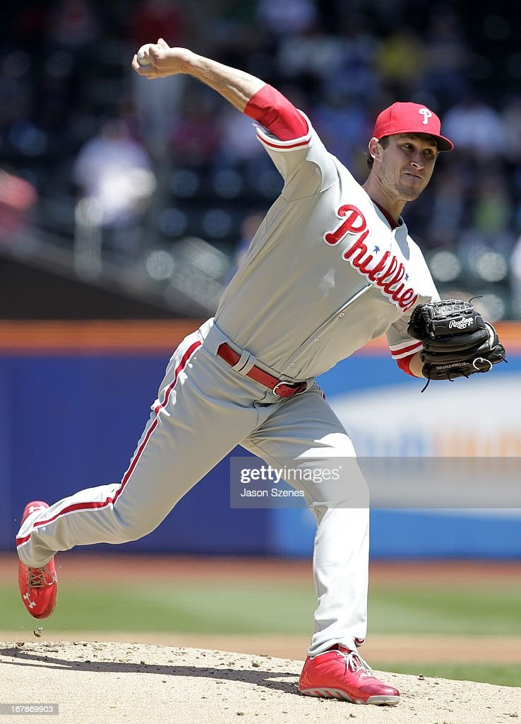 Jonathan Pettibone #44 of the Philadelphia Phillies pitches against the New York Mets at Citi Field on April 27, 2013 in the Flushing neighborhood of the Queens borough of New York City. (Photo by Jason Szenes/Getty Images