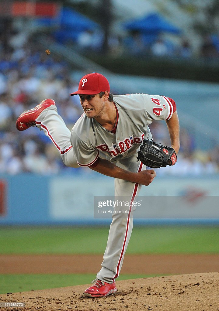 <a gi-track='captionPersonalityLinkClicked' href=/galleries/search?phrase=Jonathan+Pettibone&family=editorial&specificpeople=10524568 ng-click='$event.stopPropagation()'>Jonathan Pettibone</a> #44 of the Philadelphia Phillies pitches against the Los Angeles Dodgers at Dodger Stadium on June 27, 2013 in Los Angeles, California.