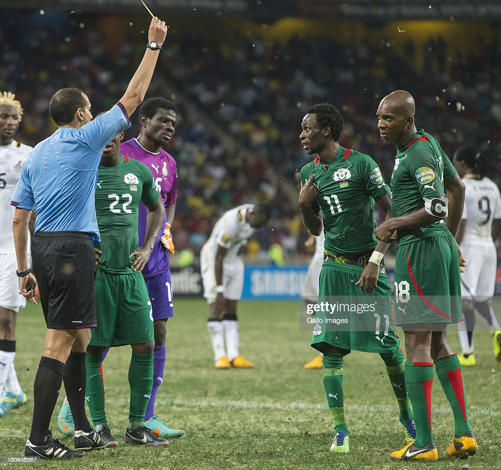 B Y Jonathan Pitroipa from Burkina Faso receives a second yellow card during the 2013 Orange African Cup of Nations 2nd Semi Final match between Burkina Faso and Ghana at Mbombela Stadium on February 06, 2013 in Nelspruit, South Africa.
