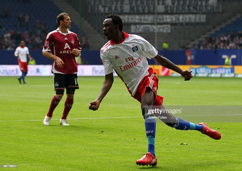 <a gi-track='captionPersonalityLinkClicked' href=/galleries/search?phrase=Jonathan+Pitroipa&family=editorial&specificpeople=685230 ng-click='$event.stopPropagation()'>Jonathan Pitroipa</a> of Hamburg celebrates after scoring his team's first goal during the Bundesliga match between Hamburger SV and 1. FC Nuernberg at HSH Nordbank Arena on May 1, 2010 in Hamburg, Germany.