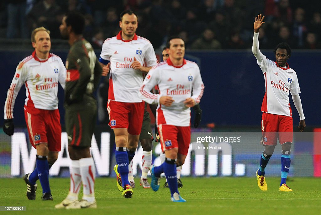 <a gi-track='captionPersonalityLinkClicked' href=/galleries/search?phrase=Jonathan+Pitroipa&family=editorial&specificpeople=685230 ng-click='$event.stopPropagation()'>Jonathan Pitroipa</a> (R) of Hamburg celebrates after scoring his team's second goal during the Bundesliga match between Hamburger SV and VfB Stuttgart at Imtech Arena on November 27, 2010 in Hamburg, Germany.