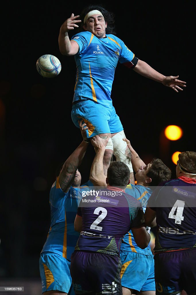 Jonathan Poff of London Wasps climbs the highest at a lineout during the Amlin Challenge Cup Pool Three match between Newport Gwent Dragons and London Wasps at Rodney Parade on January 17, 2013 in Newport, Wales.