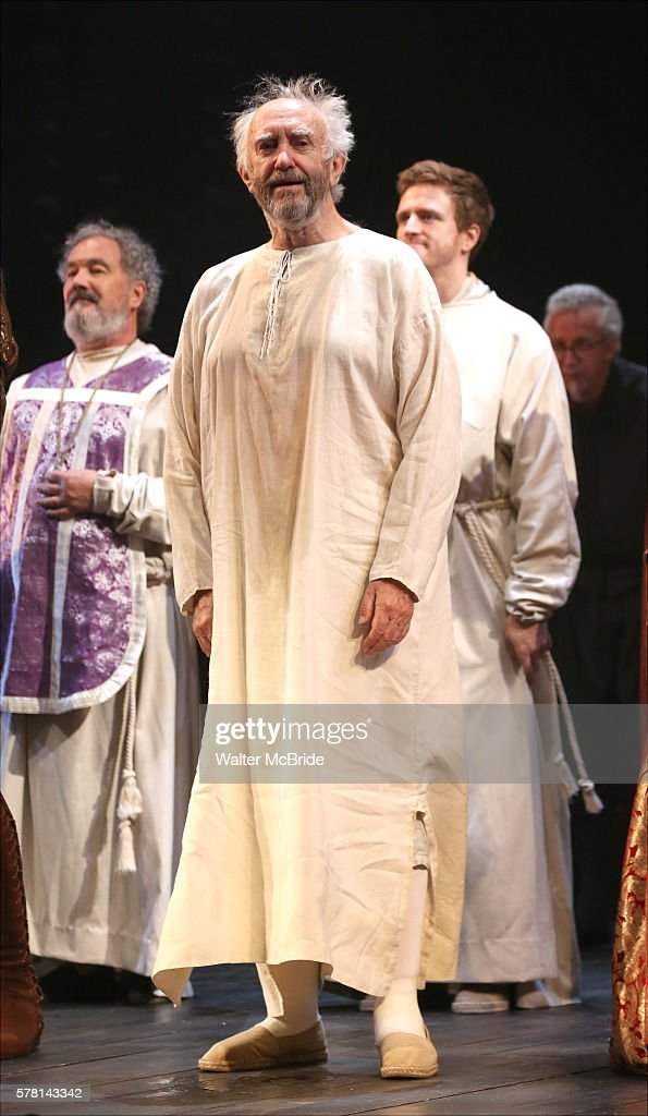 Jonathan Pryce and cast during the Opening Night curtain call bows in The Shakespeare's Globe Production of 'The Merchant of Venice' at Rose Theater...