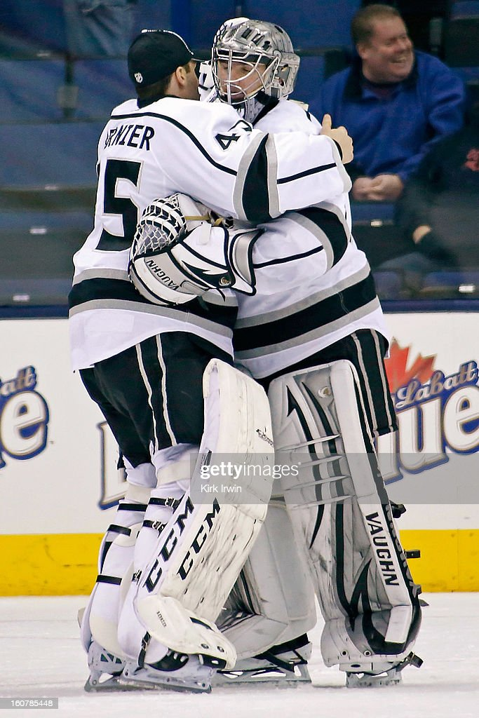 <a gi-track='captionPersonalityLinkClicked' href=/galleries/search?phrase=Jonathan+Quick&family=editorial&specificpeople=2271852 ng-click='$event.stopPropagation()'>Jonathan Quick</a> #32 is congratulated by <a gi-track='captionPersonalityLinkClicked' href=/galleries/search?phrase=Jonathan+Bernier&family=editorial&specificpeople=540491 ng-click='$event.stopPropagation()'>Jonathan Bernier</a> #45 of the Los Angeles Kings after defeating the Columbus Blue Jackets 4-2 on February 5, 2013 at Nationwide Arena in Columbus, Ohio.