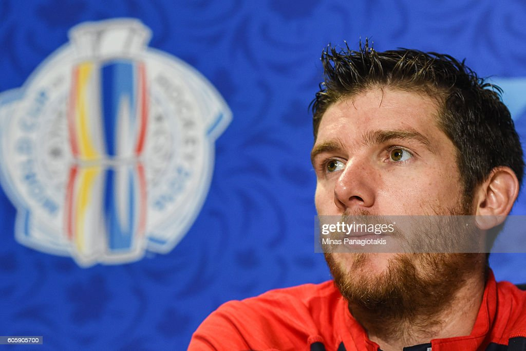 Jonathan Quick #32 of Team USA answers questions during Media day at the World Cup of Hockey 2016 at Air Canada Centre on September 15, 2016 in Toronto, Ontario, Canada.