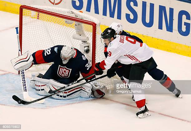 Jonathan Quick of Team USA makes a save on Matt Duchene of Team Canada in the second period during the World Cup of Hockey at the Air Canada Center...