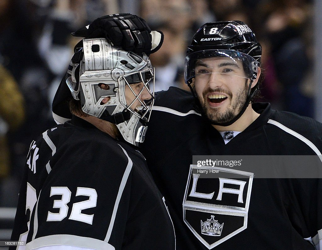 <a gi-track='captionPersonalityLinkClicked' href=/galleries/search?phrase=Jonathan+Quick&family=editorial&specificpeople=2271852 ng-click='$event.stopPropagation()'>Jonathan Quick</a> #32 of the Los Angeles Kings and <a gi-track='captionPersonalityLinkClicked' href=/galleries/search?phrase=Drew+Doughty&family=editorial&specificpeople=2085761 ng-click='$event.stopPropagation()'>Drew Doughty</a> #8 celebrate a 6-4 come from behind win over the St. Louis Blues at Staples Center on March 5, 2013 in Los Angeles, California.