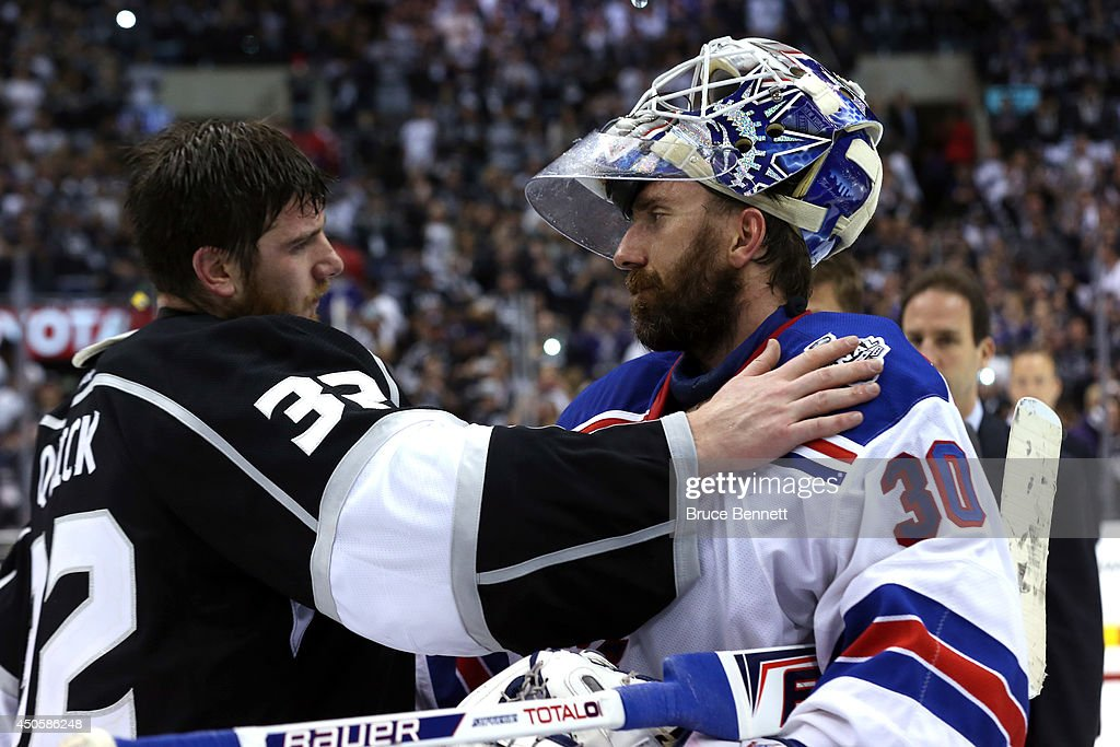 Jonathan Quick of the Los Angeles Kings and Henrik Lundqvist of the New York Rangers shake hands after the Kings defeat the Rangers 32 in double...