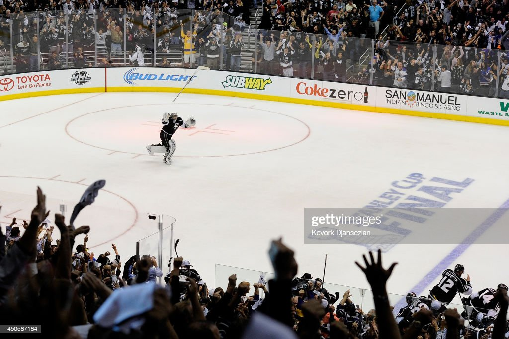 Jonathan Quick of the Los Angeles Kings celebrates after the Kings win the Stanley Cup after their 32 victory against the New York Rangers during...