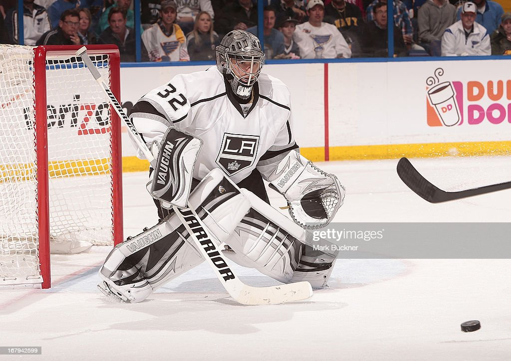 <a gi-track='captionPersonalityLinkClicked' href=/galleries/search?phrase=Jonathan+Quick&family=editorial&specificpeople=2271852 ng-click='$event.stopPropagation()'>Jonathan Quick</a> #32 of the Los Angeles Kings defends against the St. Louis Blues in Game Two of the Western Conference Quarterfinals during the 2013 NHL Stanley Cup Playoffs on May 2, 2013 at Scottrade Center in St. Louis, Missouri.